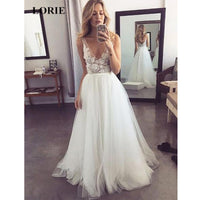 V Neck Formal A Line Tulle Bridal Long Beach Wedding Dress White Ivory Bridal