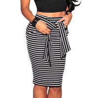 Wipalo Women Plus Size High Waist Striped Belt Bodycon Skirts Casual Adjustable Waist Knee-Length Pencil Skirt Ladies Skirt 5XL