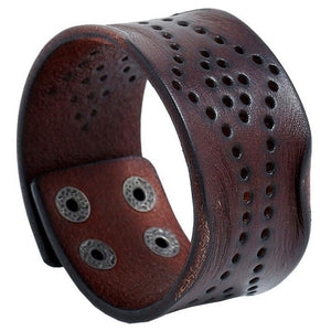 Fashion Punk Black Brown Wide Leather Wristbands Cuff Bracelet Gothic Casual