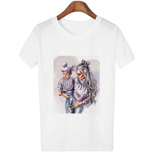 New Arrival 2019 T Shirt Vogue Tee Shirt Korean Fashion Clothing Harajuku Kawaii White Tshirt Super Mom Female T-shirt Mother's