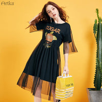 ARTKA 2019 Summer Women Dresses Casual Long T-shirt Dress 2-Piece Set Mesh