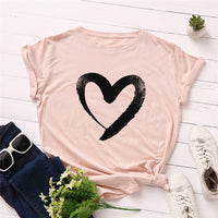 Plus Size S-5XL New Heart Print T Shirt Women 100% Cotton O Neck Short Sleeve Summer T-Shirt Tops Casual Tshirt women shirts