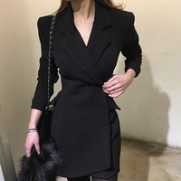 Formal Dress Women Elegant Black Solid Pockets Asymmetrical Full Sleeve V-Neck Knee Length Single breasted Empire Waist Spring