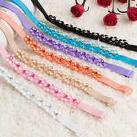 Women Bra Strap Flower Rhinestone Decoration Invisible Elastic Shoulder Straps for Bridal Wedding Party