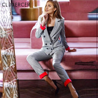 Korea Style Casual Plaid Women Pant Suits Notched Collar Blazer Jacket