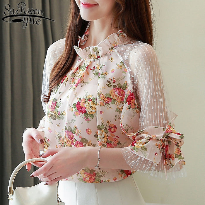 women blouse shirt patchwork Women Printed Chiffon Blouse Shirt Tops 2019 New Summer Shirt Casual Chiffon Blouse Blusas 4068 50