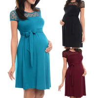 Maternity dress summer Sexy Maternity Dress Pregnant Lace O-Neck Pure Color