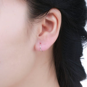 S990 Sterling Silver Earrings for Women Men Boys Girls Round Circle Loop Hoop