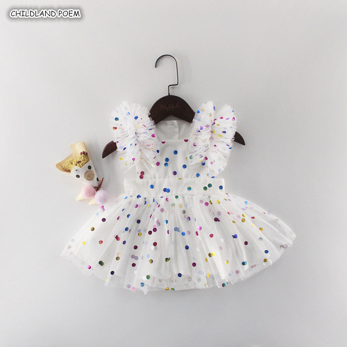 Baby Girl Dress Summer 2019 Newborn Baby Dress First 1st Birthday Dress For Baby Girl Princess Dress Polka Dot Baby Girl Clothes