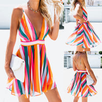 Women Casual Sleeveless Striped Backless Deep V-neck Mini Sexy Dress Ladies Summer Colorful Striped Evening Party Beach Sundress