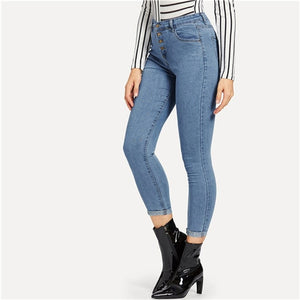 SHEIN Blue Button Front Ankle Skinny Casual Jeans Woman Spring Summer Mid Waist Crop Pencil Jeans High Street Ladies Denim Pants