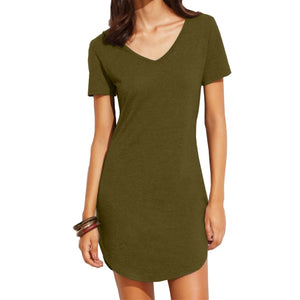 Camouflage Women Tshirt Dress 2019 V-neck Summer Dresses short sleee