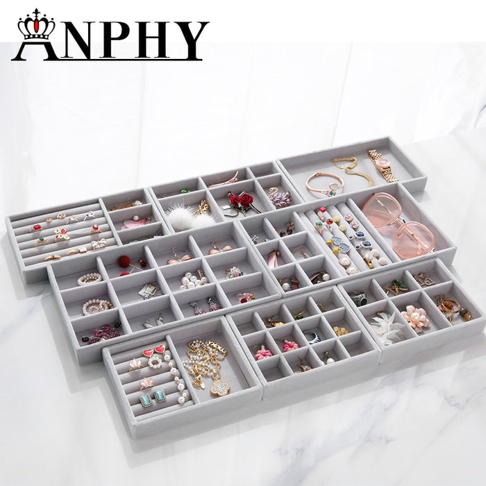 ANFEI Grey Sries Mini Tray Jewelry Display Tray Ring Earrings Pendant Bracelet Exhibitor Holder Jewelry Box 6 Differents Tray