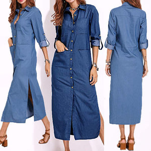 2019 Spring Fashion Denim Blue Dress Women Casual Lapel Long Sleeve