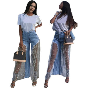 Lace Mesh Spliced Denim Pants Women Casual Star Print Sexy Burr Perspective Long