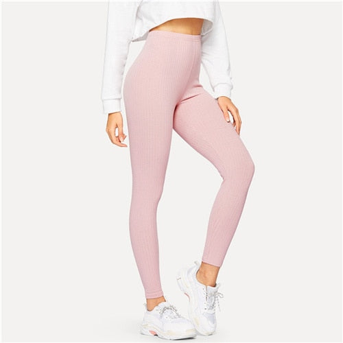 High Waist Solid Casual Leggings Women 2019 Spring Autumn Stretchy Fitness Midi Waist
