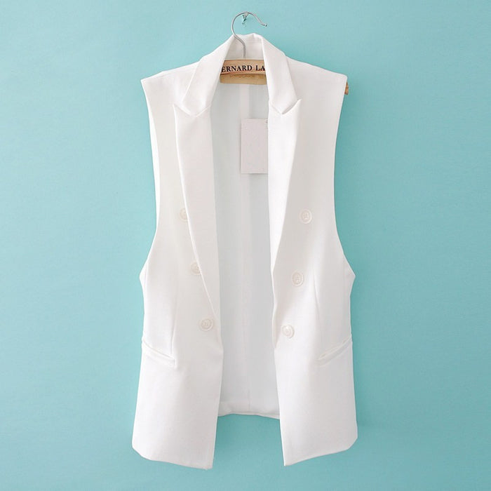 Quilted Waistcoat for Women Long Sleeveless Blazer Vest Jacket Feminino