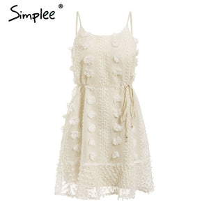 Simplee Elegant flower embroidery short dress Women sexy spaghetti strap summer sundress Female lace up short beach dress 2019