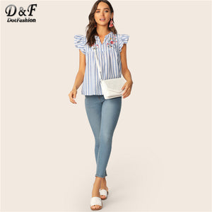 Dotfashion V-cut Neck Blouse Women Ruffle Armhole Floral Embroidered Summer Top 2019 Fashion Blouses For Women Blue Striped Tops