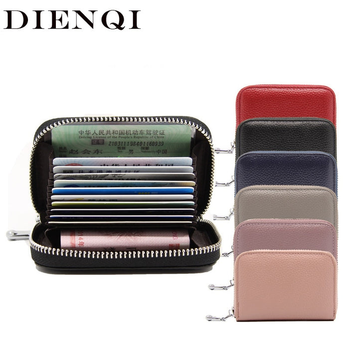 DIENQI Genuine Leather Mini Wallet Zipper Women Short Card Holder Wallet Coin Money Bag Small Womens wallets and purses 2018