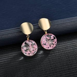 New Metal Sequins Round Earrings Transparent Glass Ball Flowers Dangle Drop