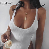 Forefair Low Cut Sexy Bodysuit Ribbed Knitted Backless Tank Body Top Romper Women Summer Bodysuit