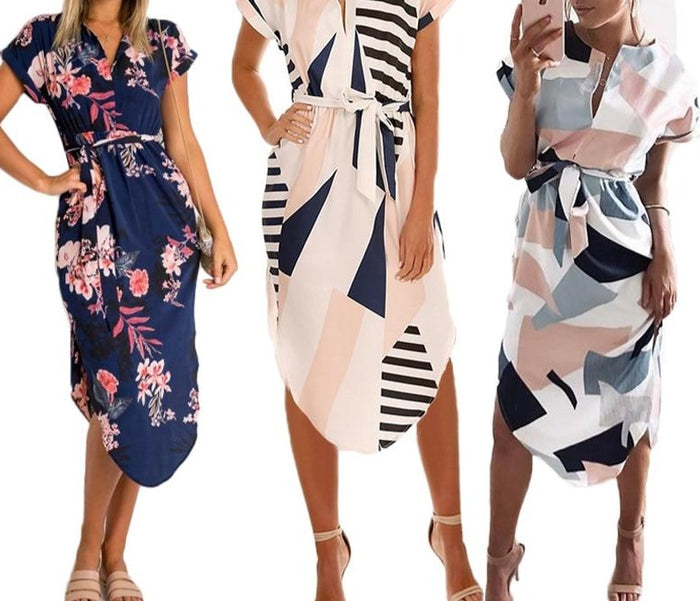 Elegant Asymmetrical Boho Dresses Women Dress Summer 2019 Bohemian Dress Midi Sundress Female Plus Size Casual Floral Vestidos
