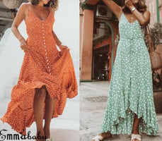 Women Dot Boho Long Maxi Dress Woman Lady Party Summer Beach