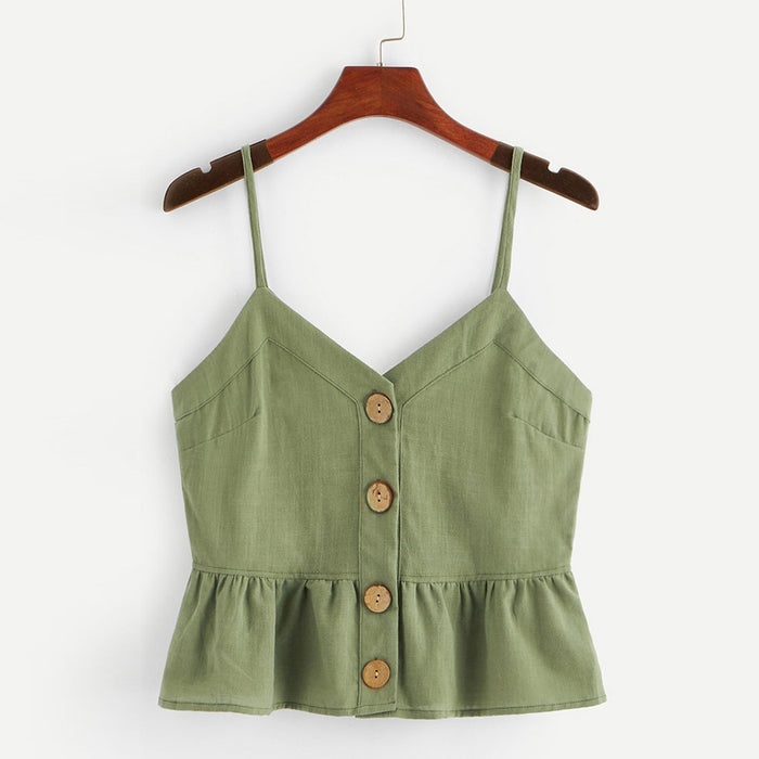 Womens Vest Summer Tops Sleeveless Sling Tanks Button Solid Women