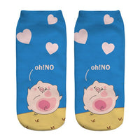 Hot New 3D Printed pink Pig Animal Pet Mini Pig funny cute cotton short ankle socks for women ladies harajuku korean socks
