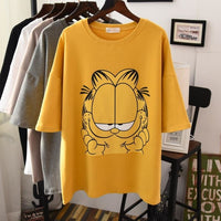 2019 new spring and summer short-sleeved women's cartoon cat loose thin short-sleeved t-shirt female