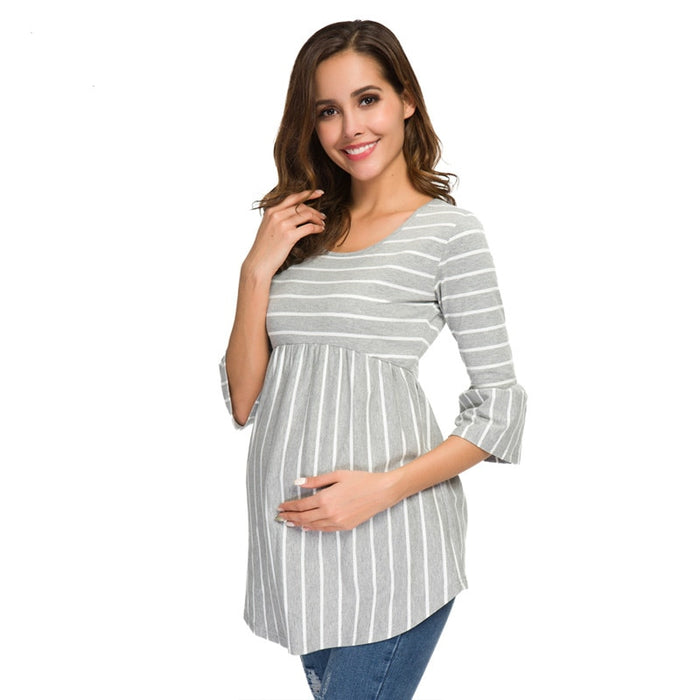 Ruffle Maternity Tops Loose Pregnancy Blouse Striped T-shirt Tunic 3 Quarter Casual Maternity Clothes Pregnant Womens Clothing