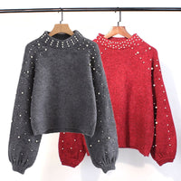 Pearl Turtleneck Winter Knitted Sweater Women Lantern Sleeve Loose Gray Pullover Female Soft Warm Autumn Casual Jumper 6Q0692