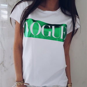 Women VOGUE Print T shirt 2019 Womens Letter Top Summer Short Sleeve Fashion Tshirt O-Neck Cotton T shirts Ladies Tee Shirt