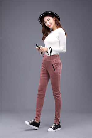 High Waisted Harem Pant Women Cotton skinny Casual Pink Corduroy Pants For Women