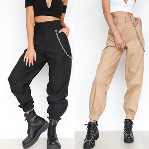Women's Harem Cargo Trousers Cotton Pants Solid Loose High Waist Casual Women Girl Pants Fashion