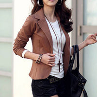 Short Solid Turn-down Collar Slim Blazers Women Fashion Long Sleeve Wild Business Suits Office Lady Elegant Blazer High Quality