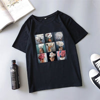 Flower art dating summer new women's Harajuku fashion personality casual loose O-neck large size S-2XL women's T-shirt tops