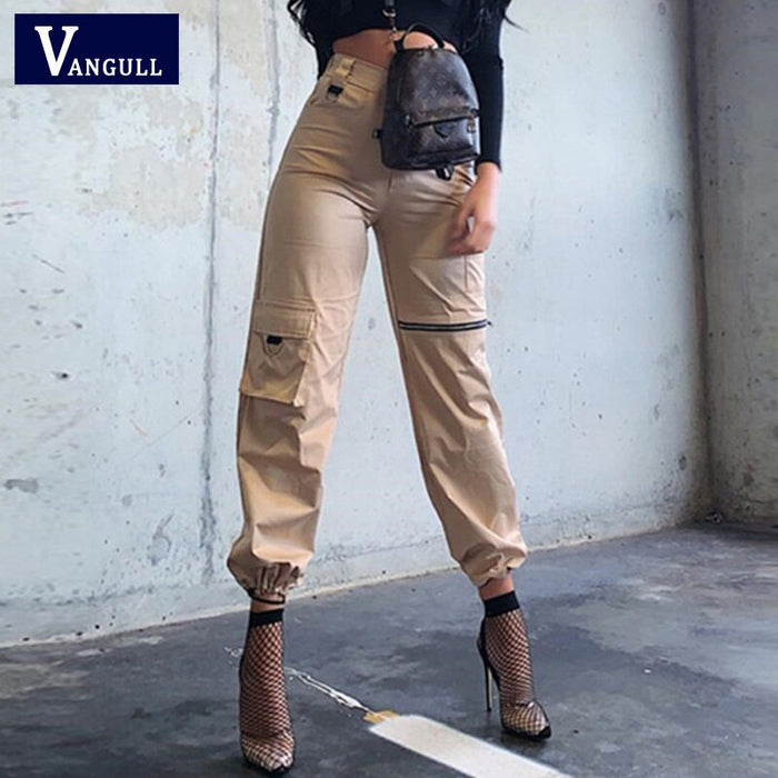 Vangull New High Waist Cargo Pants Women Streetwear Casual Sweatpants Loose Pocket Zipper Lace Up Hip Hop Joggers Trousers 2019