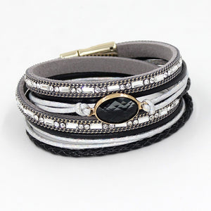 VONNOR Bracelets for Women Multi-layer Winding Wrap Leather Crystal