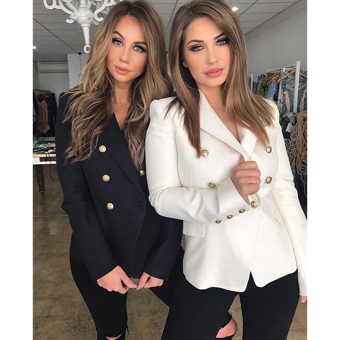 Design Black White Blazer Women Work Office Formal Double Breasted Buttons Blazers