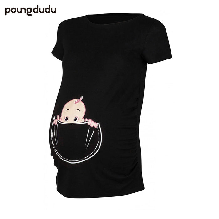 Poungdudu Pregnant Women's T-shirt Cute Naughty Maternity Cartoon Printed T-shirt with Round Neck Short Sleeve 2019 Summer