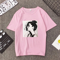 T-shirts  Summer Girls Print Short Sleeve O-Neck  Loose Women