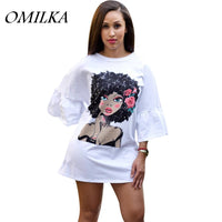 OMILKA 2019 Women Half Sleeve O Neck Cartoon Printed T Shirt Dress Casual