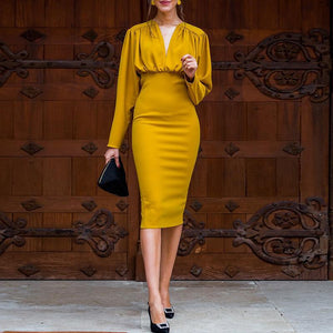 Ruched Design Long Sleeve Midi Dress Women Long Sleeve Peplum Dress Summer 2019 Elegant V Neck Party dresses Yellow Vestidos