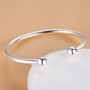 Pure Silver 925 Bangle Bracelets for Women Double Beads Wrist Cuff Bangles