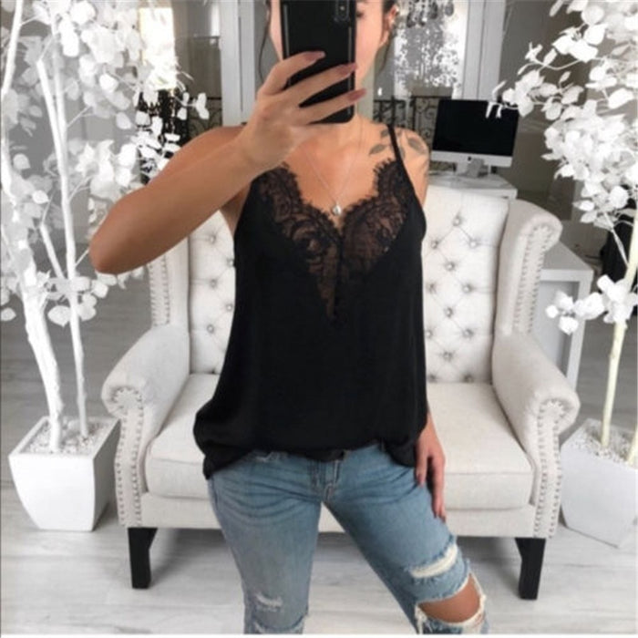 2019 Summer Women Blouse Casual Loose Lace V Neck Ladies Shirts Tops Blouse Sleeveless Tops Female Blouses Plus Size Clothing