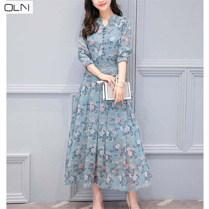 Hong Kong style 2019 spring new Korean version of the thin printed long-sleeved long chiffon floral dress