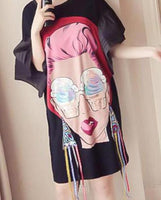 2019 Summer Loose Oversize T Shirt Dress Women Butterfly Sleeve Chiffon