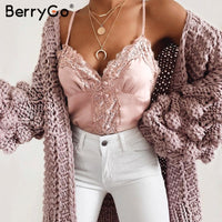 BerryGo Sexy lace white satin camis summer camisole Spaghetti strap pink tank tops